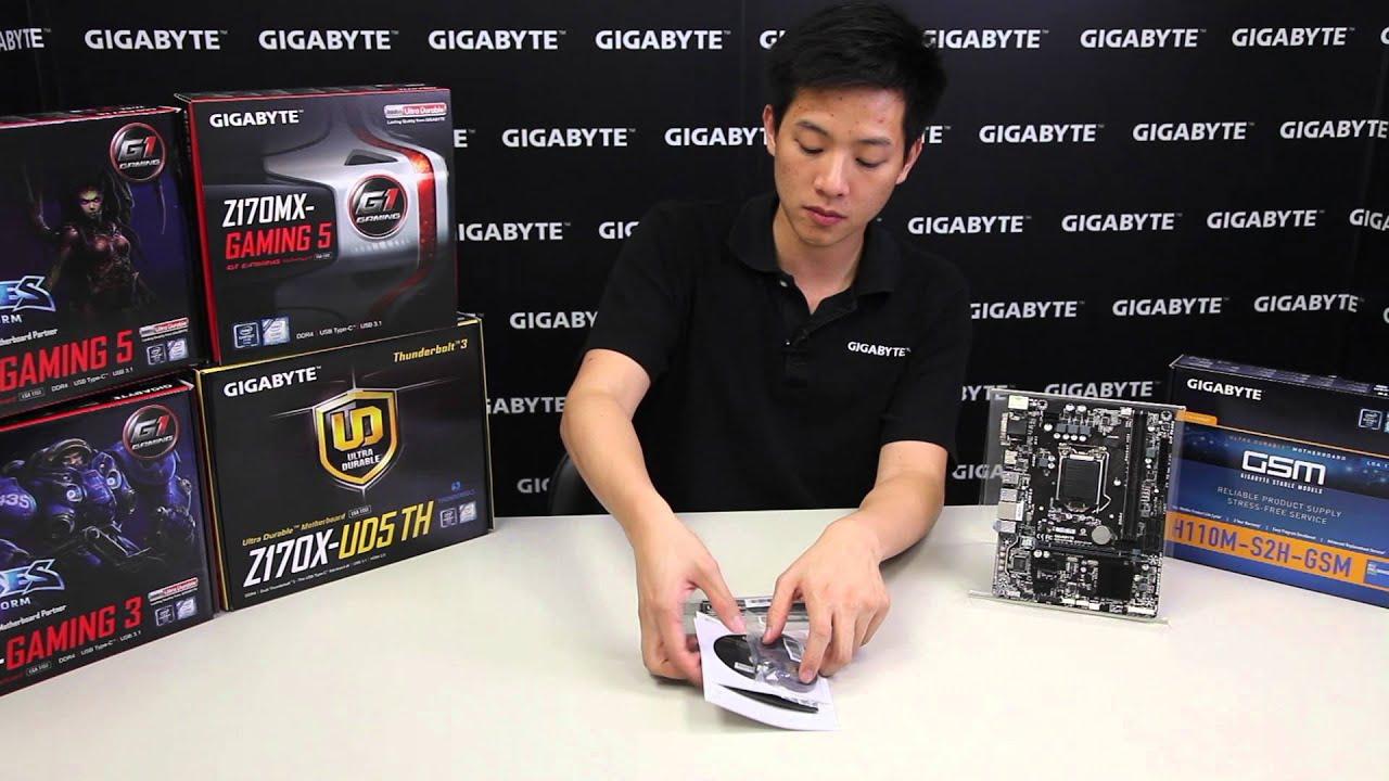GIGABYTE 100 Series - GA-H110M-S2H GSM Motherboard Unboxing