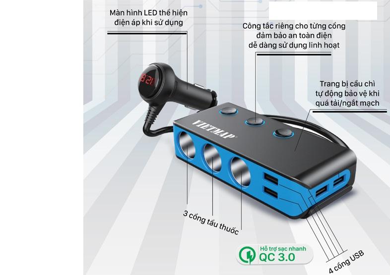 Bộ Chia Nguồn Xe hơi An Toàn VietMap VM71 Cao Cấp – Bộ Chia 3 Tẩu Thuốc 4 Cổng Sạc USB